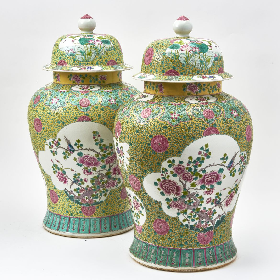Chinese Famille Rose Porcelain Temple Jars
