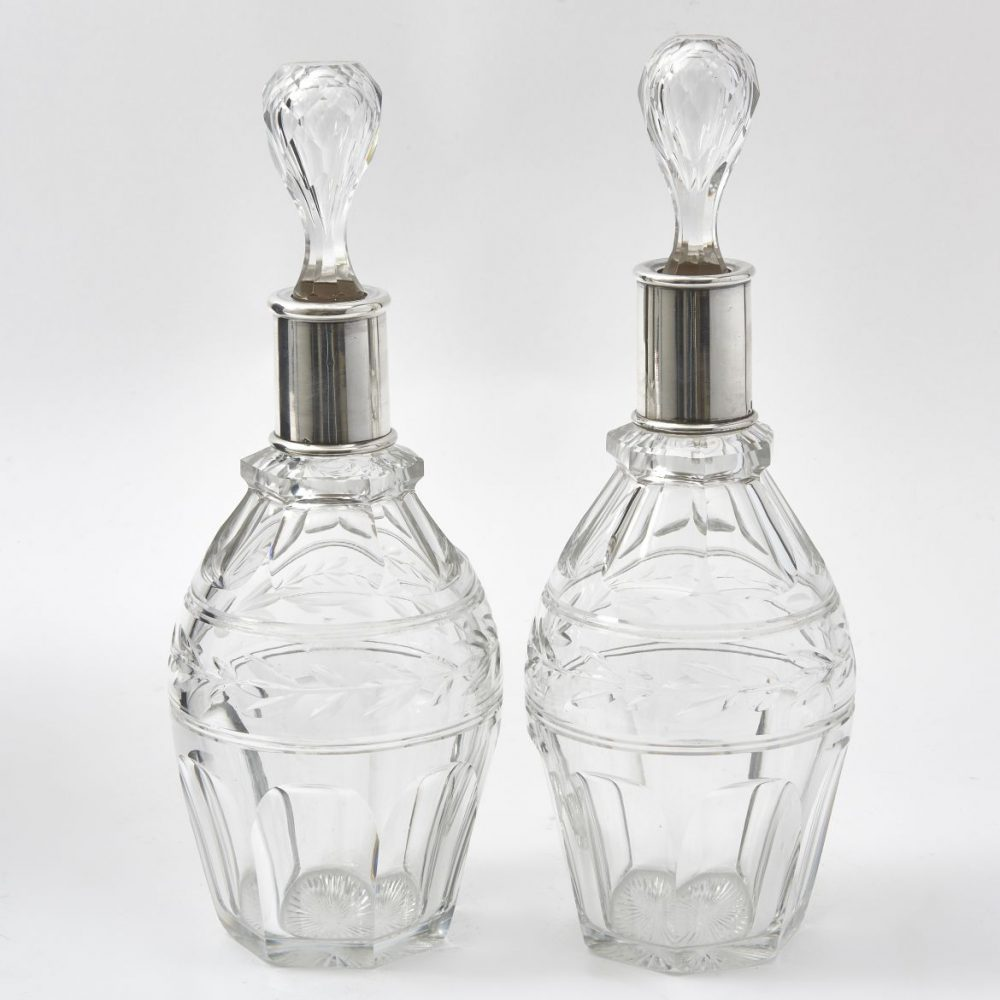 French Silver Mounted Crystal Decanters