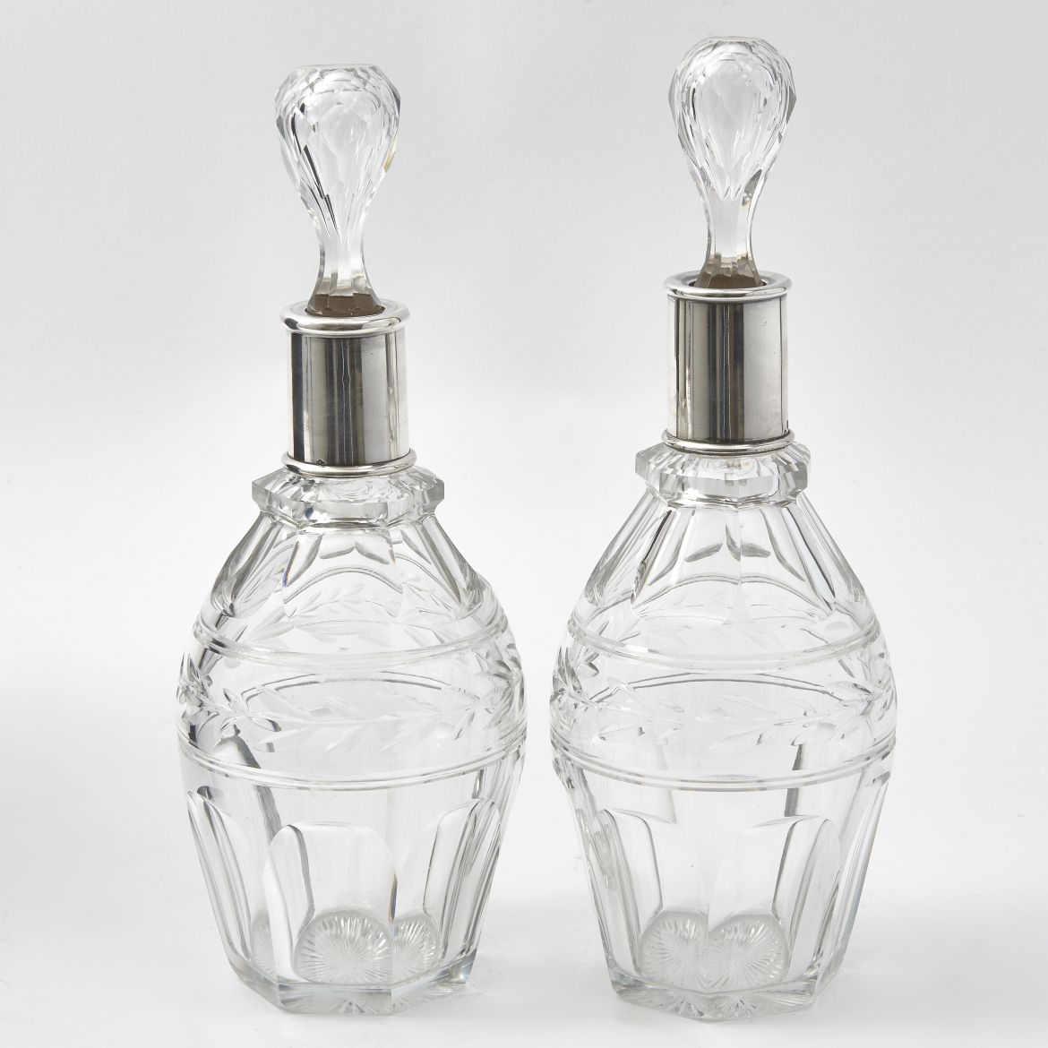 Silver Mounted Crystal Decanters