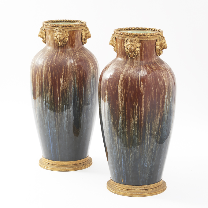 Pair French Faience Drip Glaze Vases