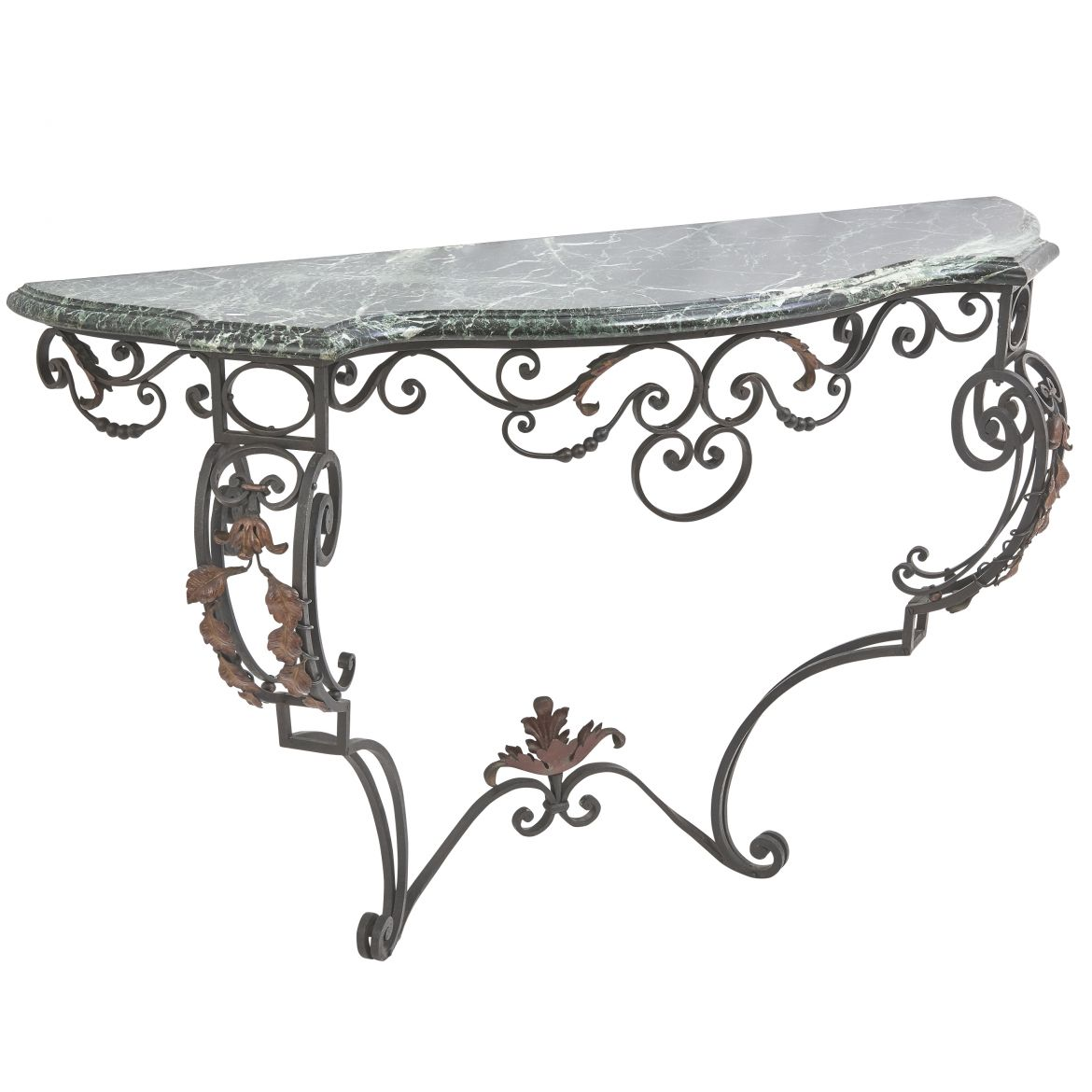 Wrought Iron And Verde Antico Marble Console