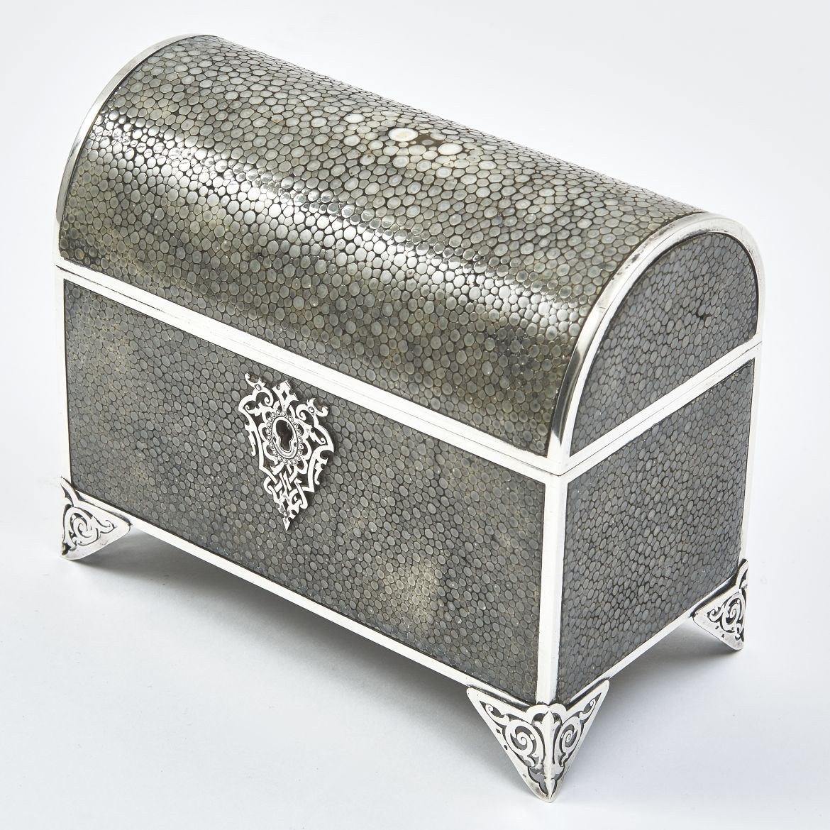 French Silver Mounted Shagreen Box