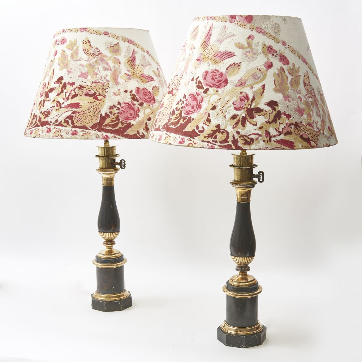 French Tole And Brass Baluster Lamps