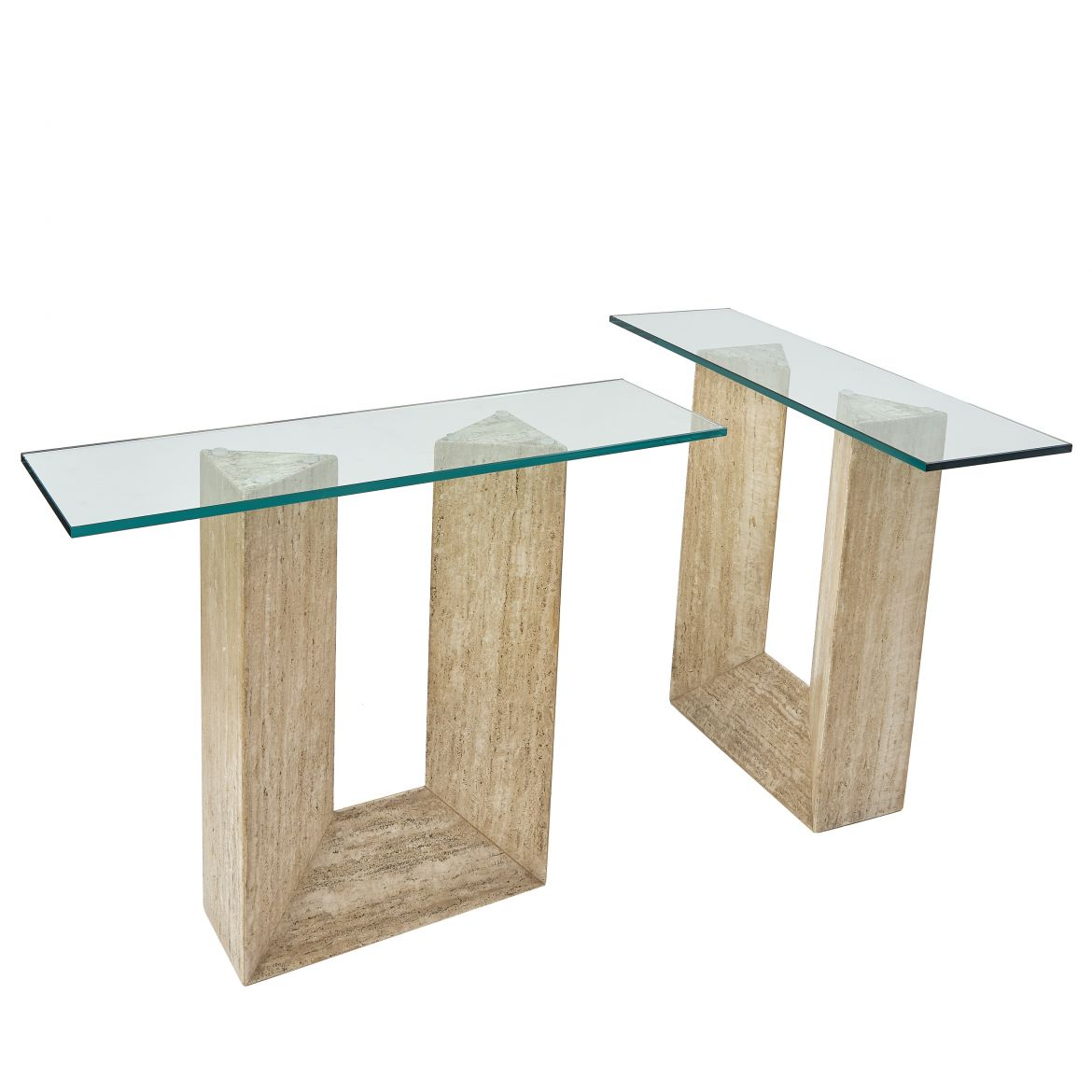 Pair Italian Modernist Travertine Tables