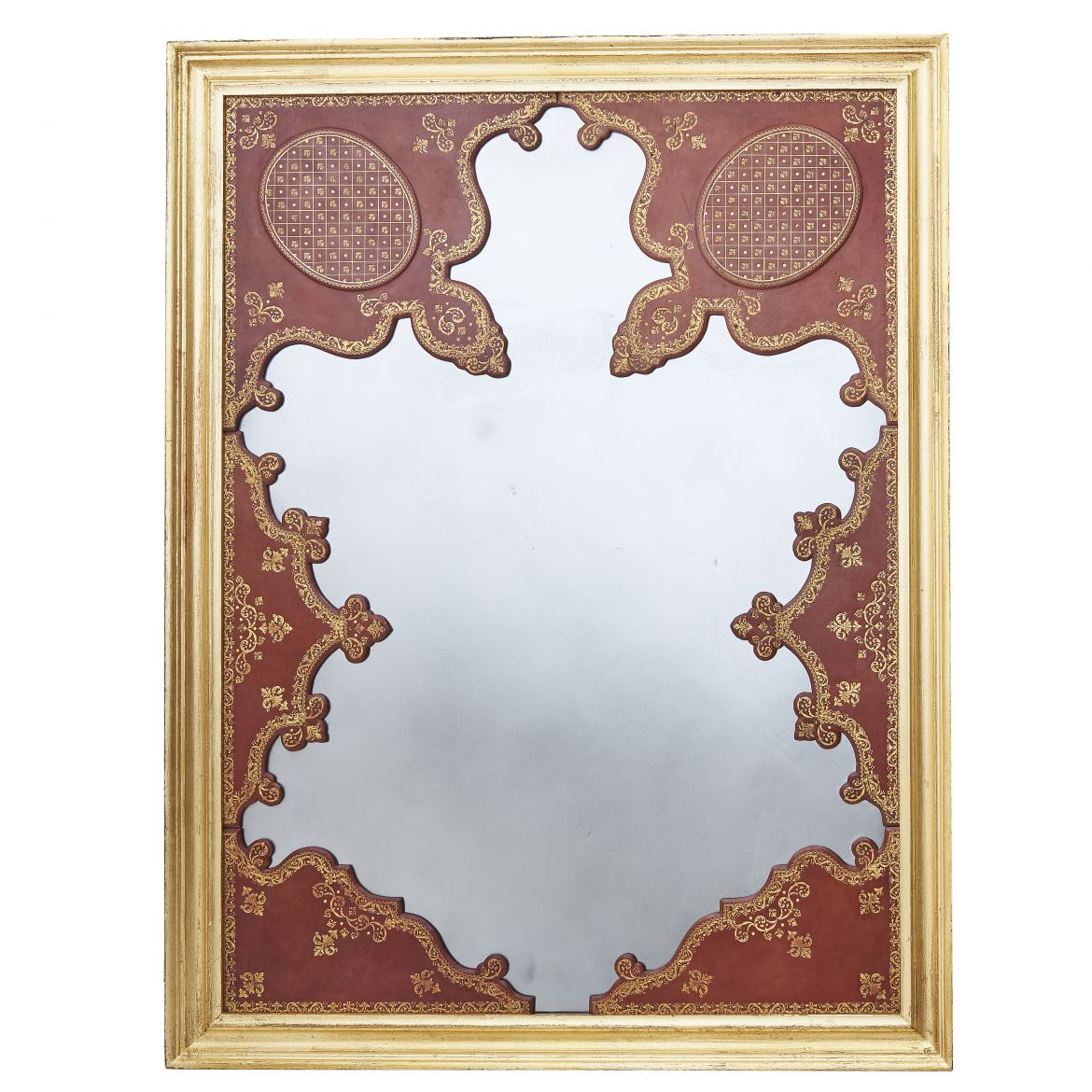 Tooled Leather Framed Mirror