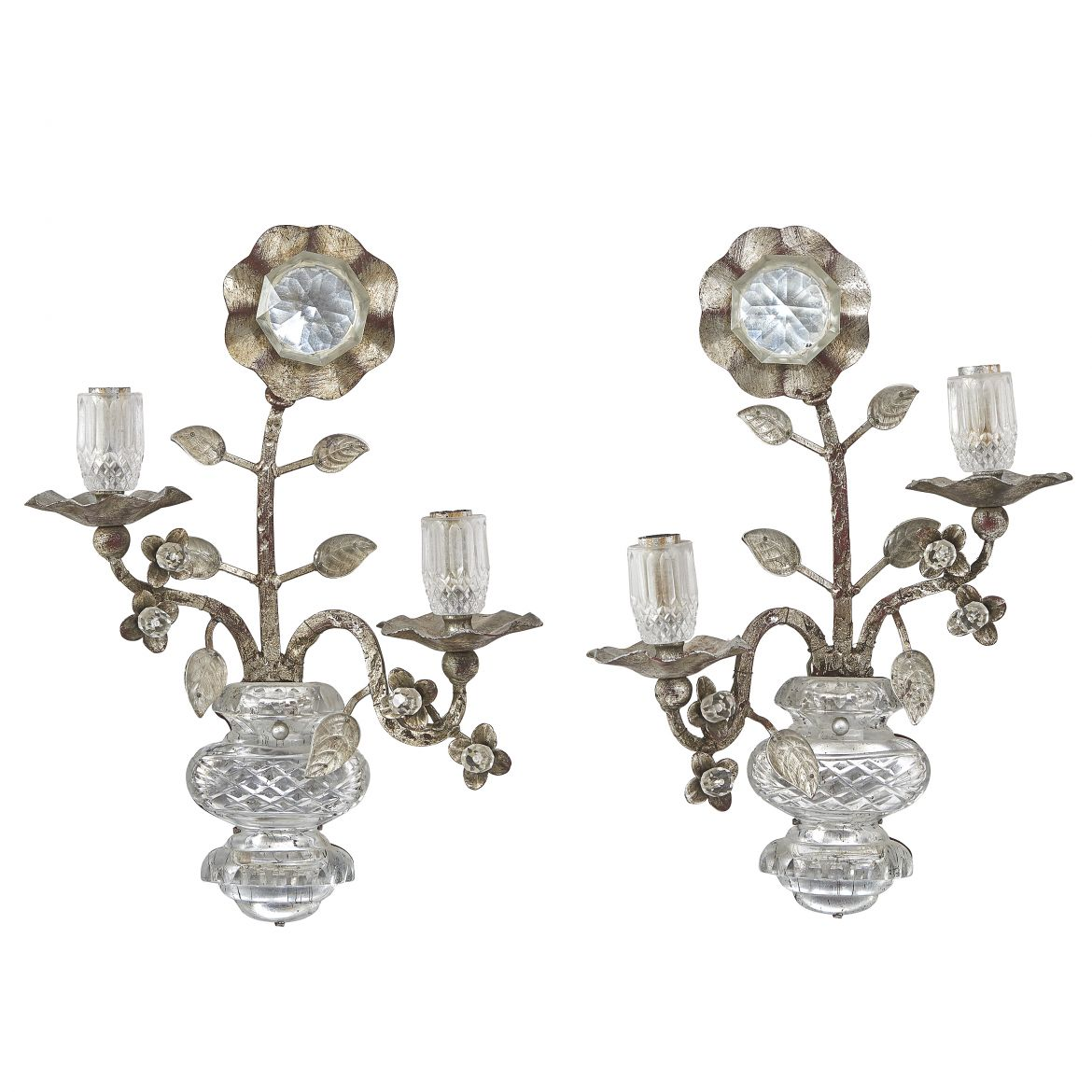 Bagues Style Silvered Wall Lights