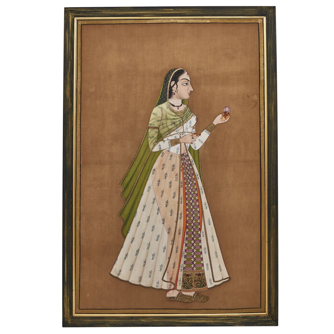 Indian Painted Silk Panel of Woman