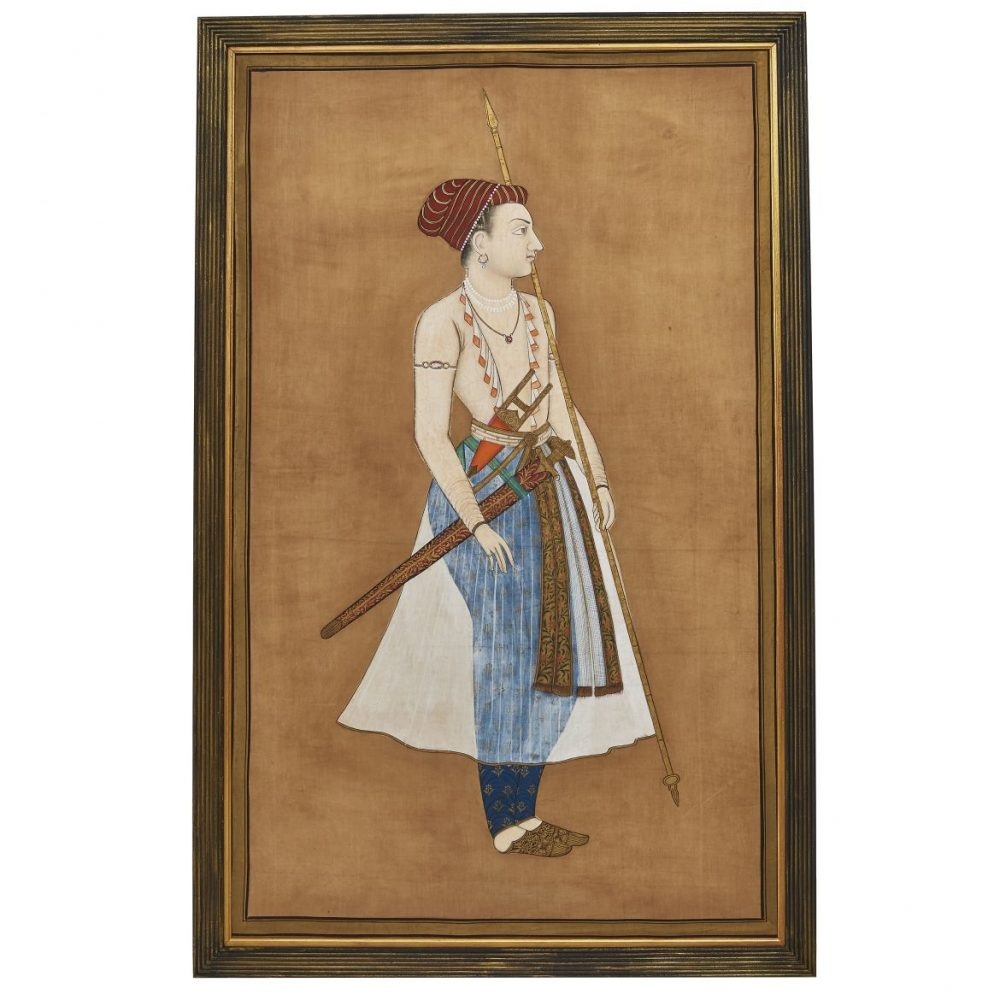Indian Silk Painting Of Man