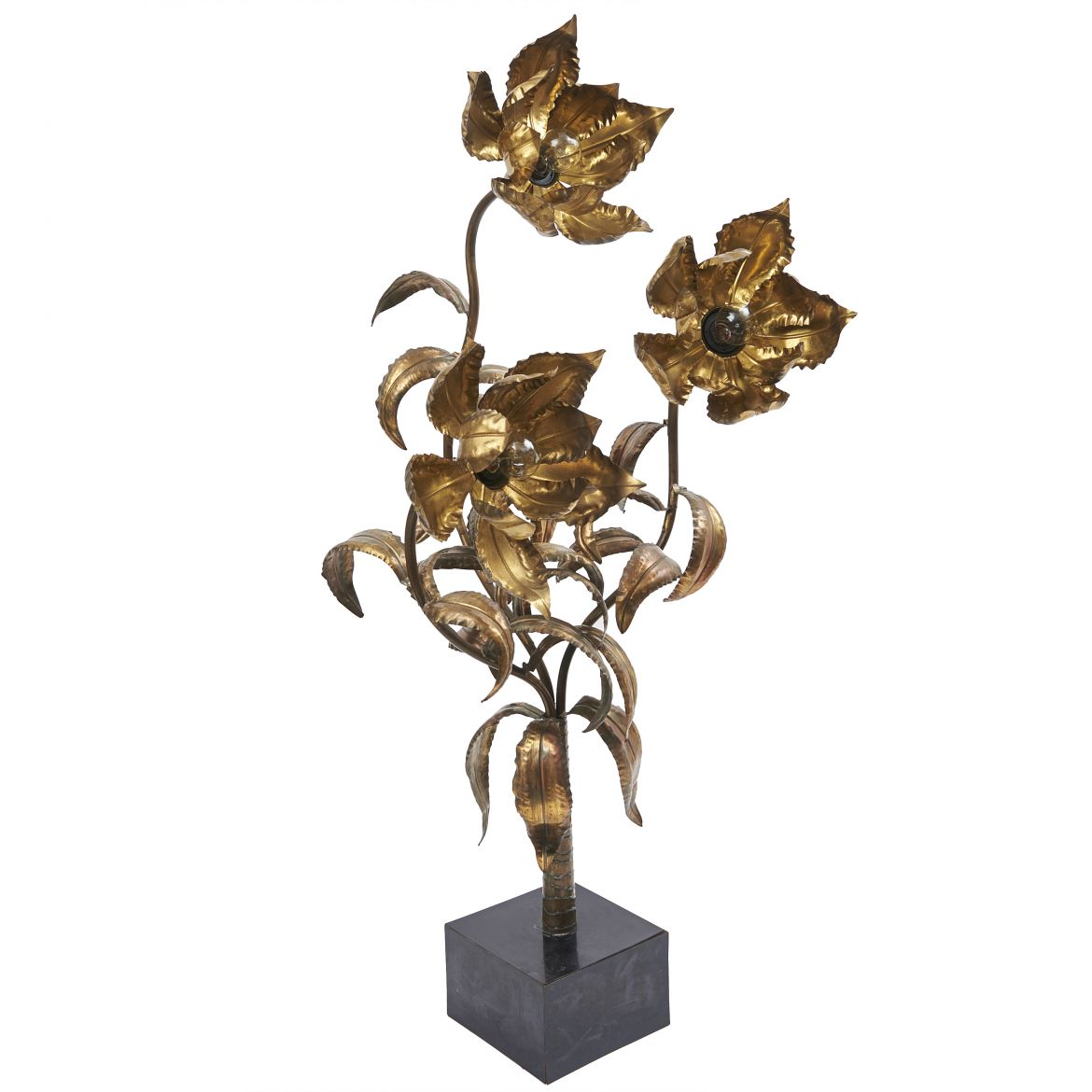 Maison Jansen Brass Flower Lamp