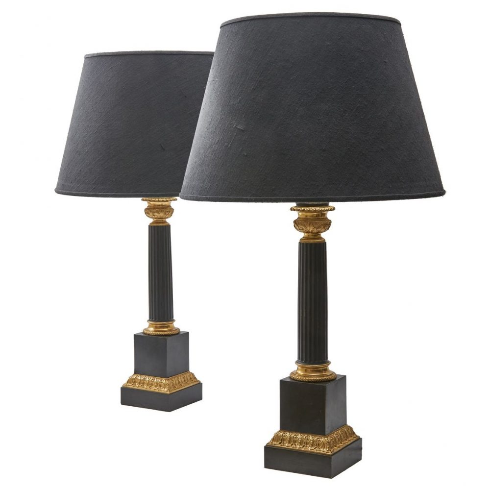 Louis Philippe Patinated Bronze Column Lamps