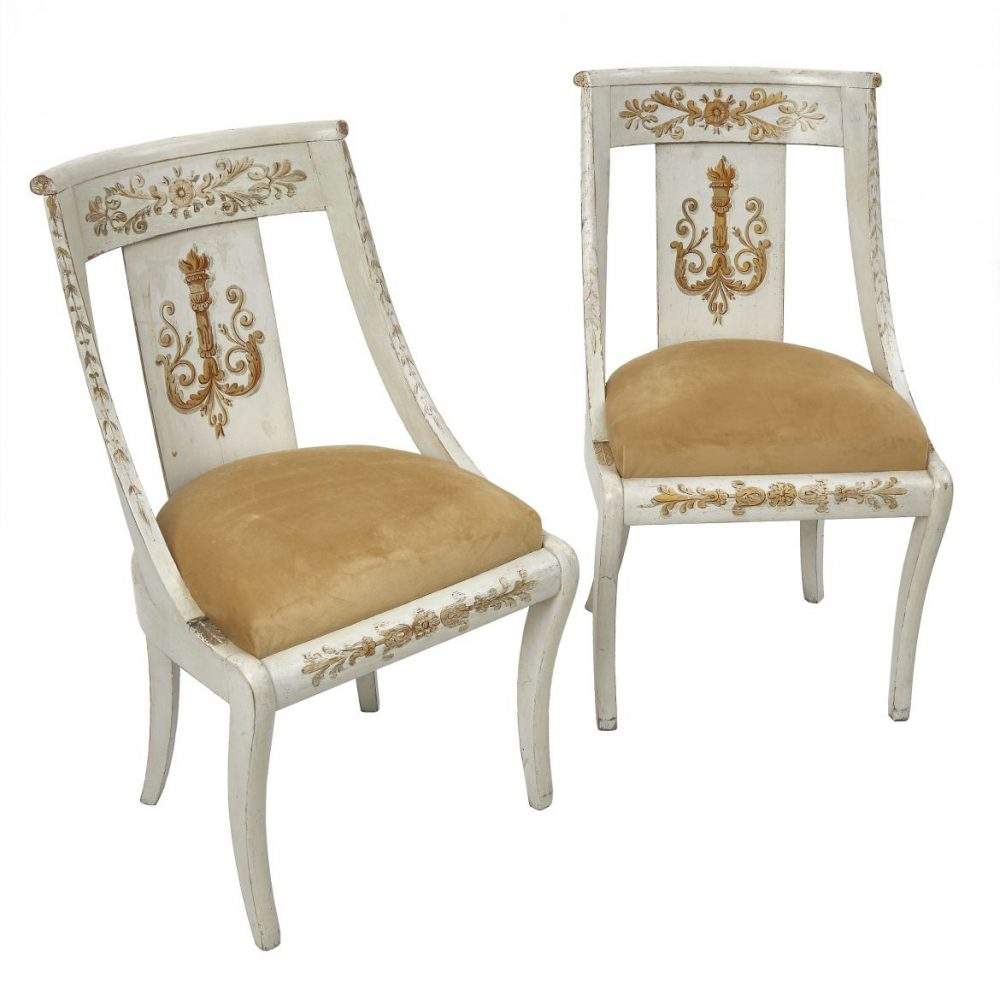 Pair Painted French Empire Chairs