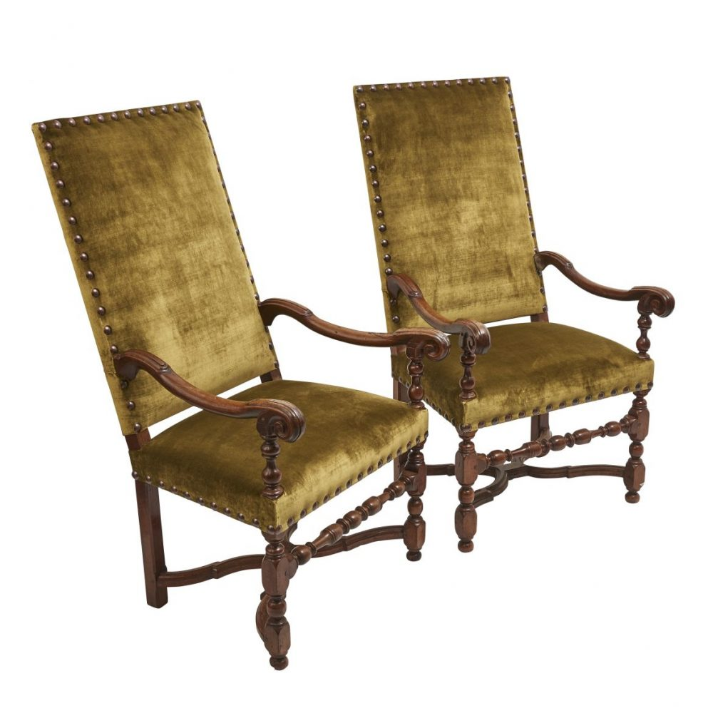 Louis XIII Carved Beech Armchairs