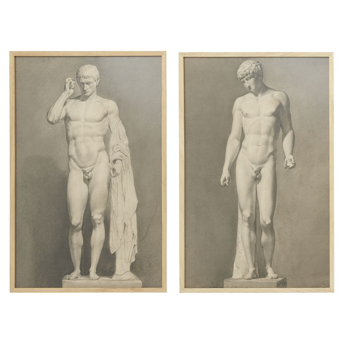 Pair Italian Academy Of Arts Charcoal Drawings