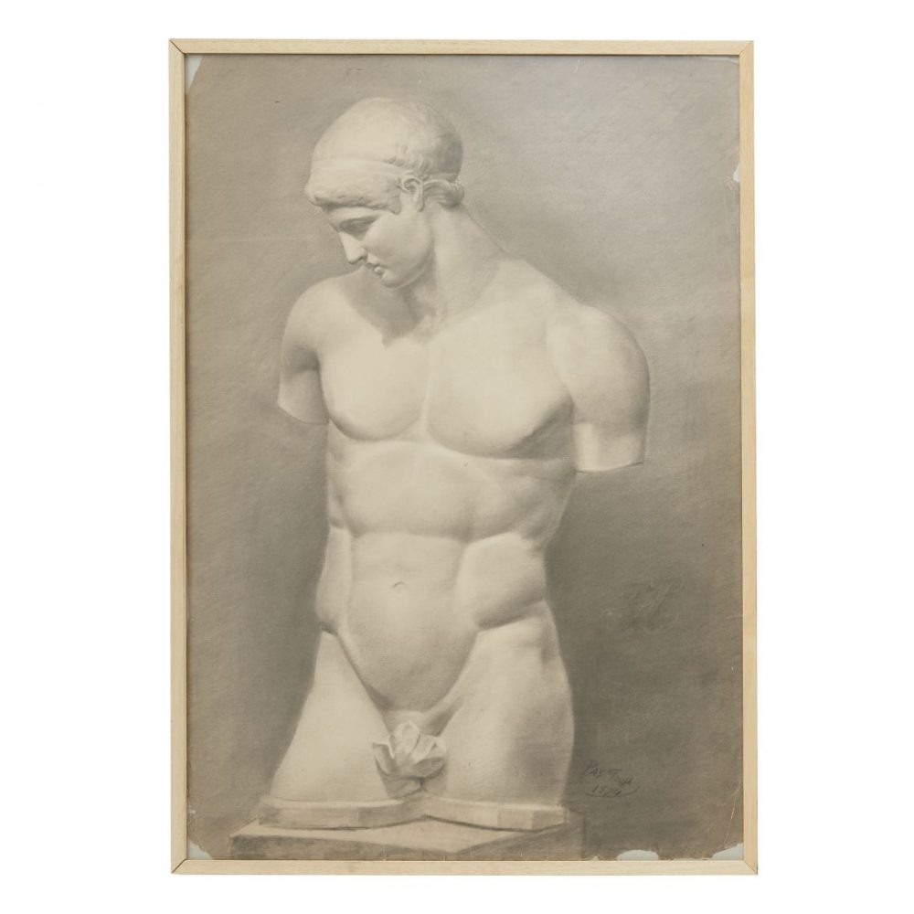 Italian Charcoal Drawing Of Classical Antiquity