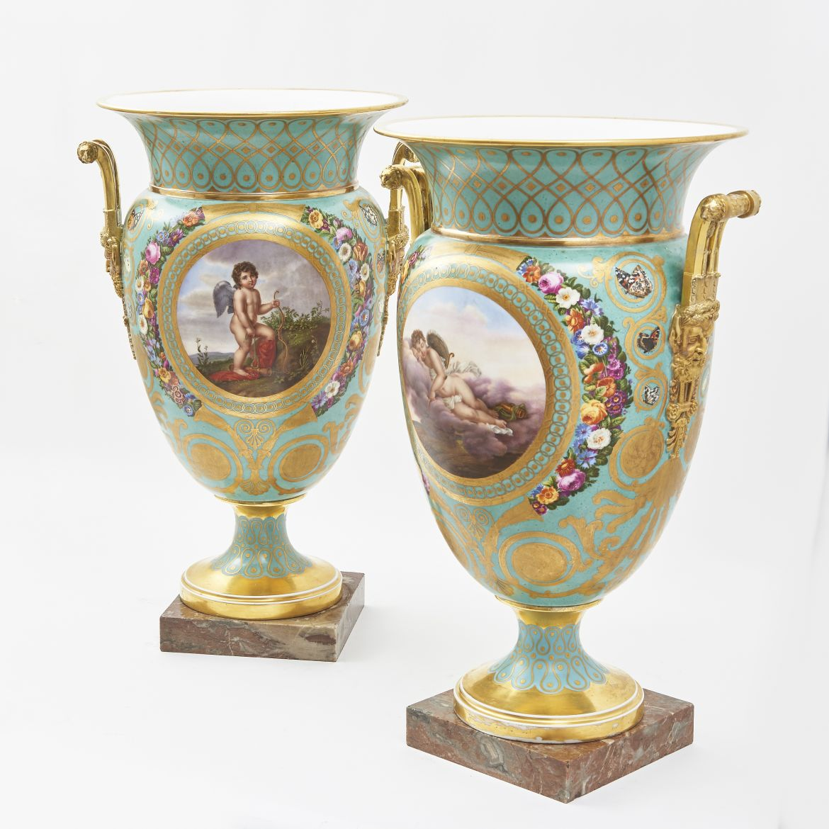 Pair Large Sevres Urns
