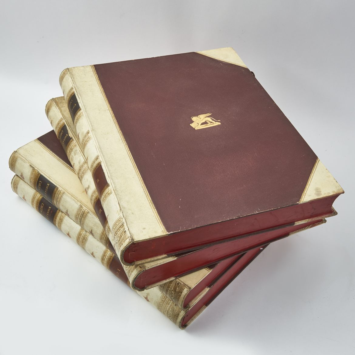 Four Large Italian Leather Book Boxes