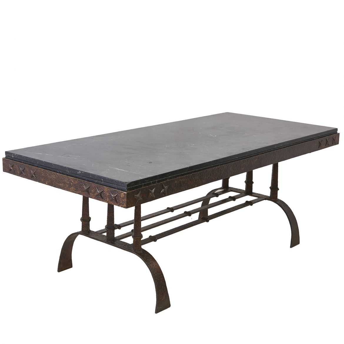 Large Iron and Marble Dining Table