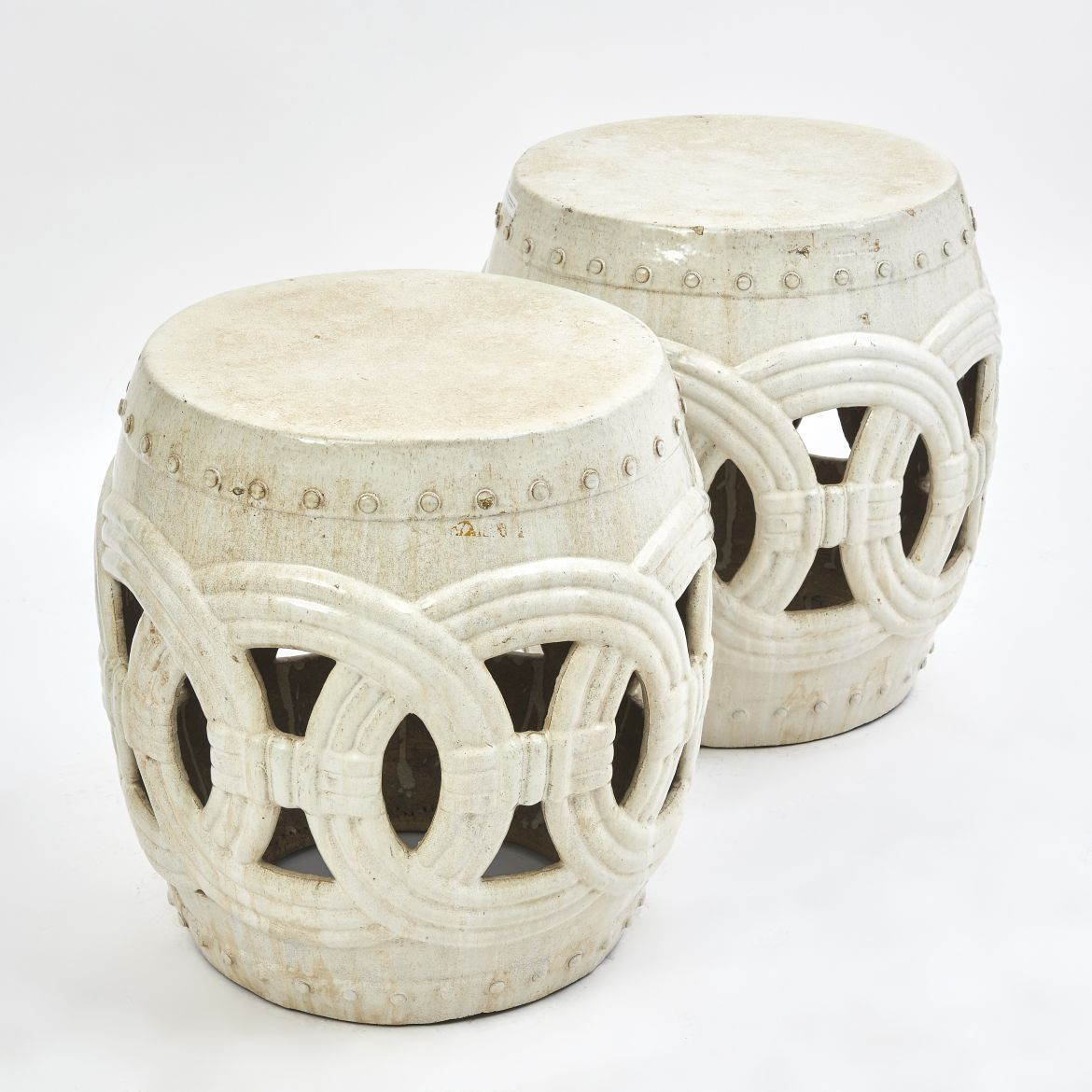 Pair Large Chinese White Garden stools