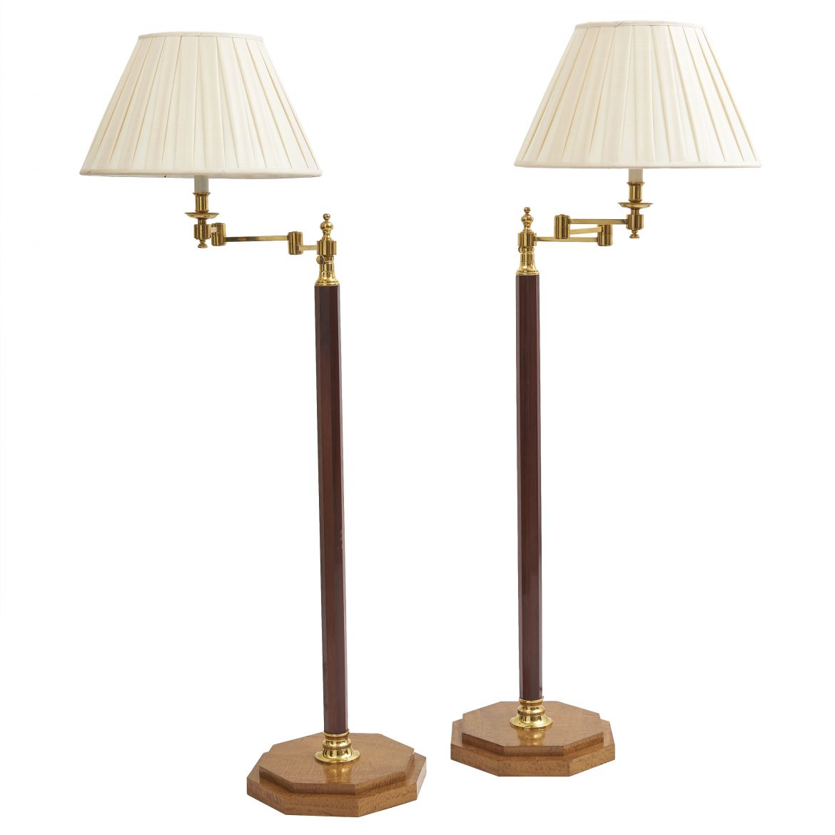 Pair wooden standard lamps