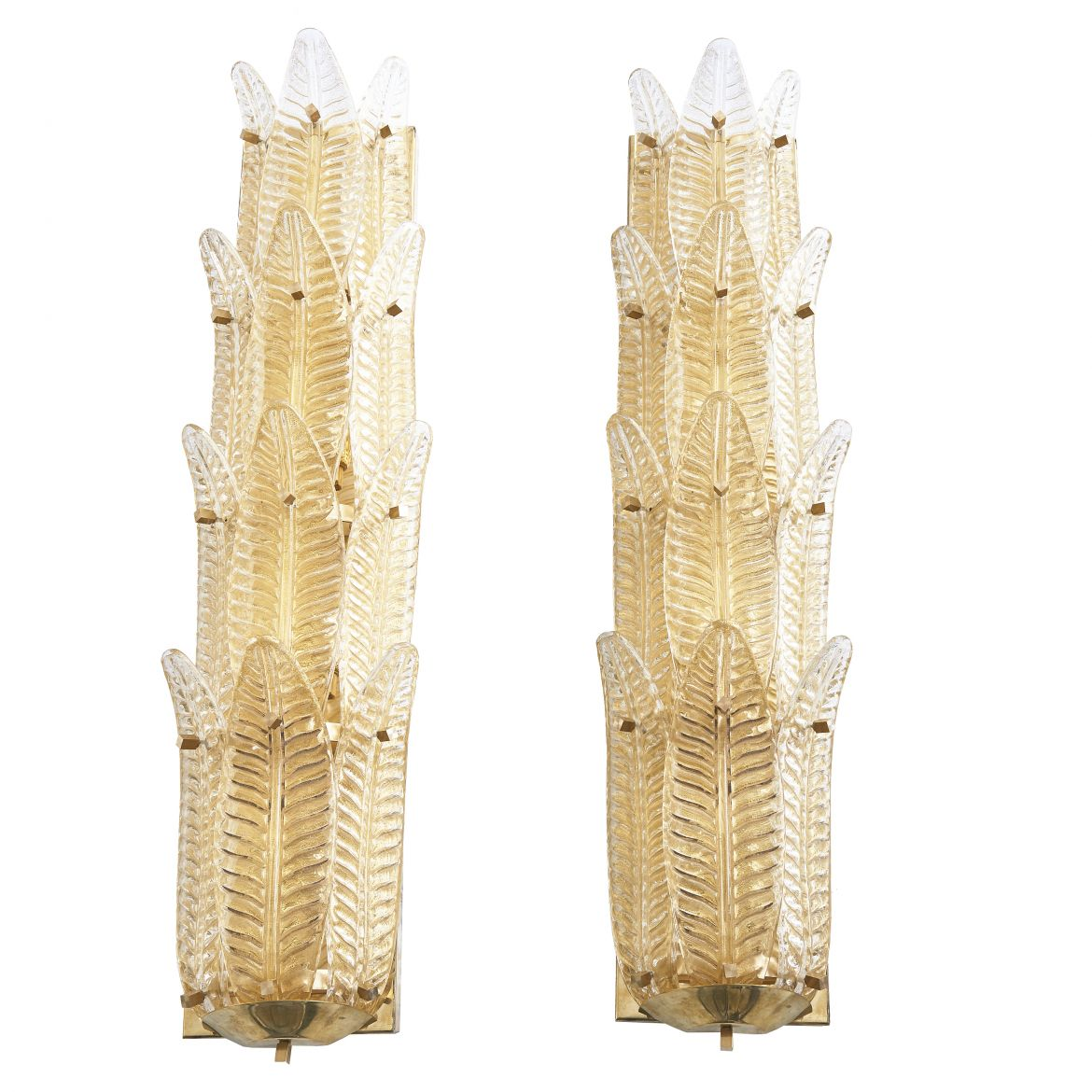 Pair Murano Glass Multi Leaf Wall lights