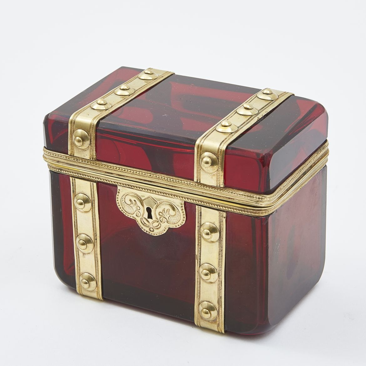 Bohemian Ruby Glass and Bronze Box