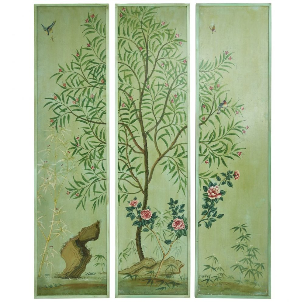 Three Hand Painted 19thC Italian Wallpaper Panels