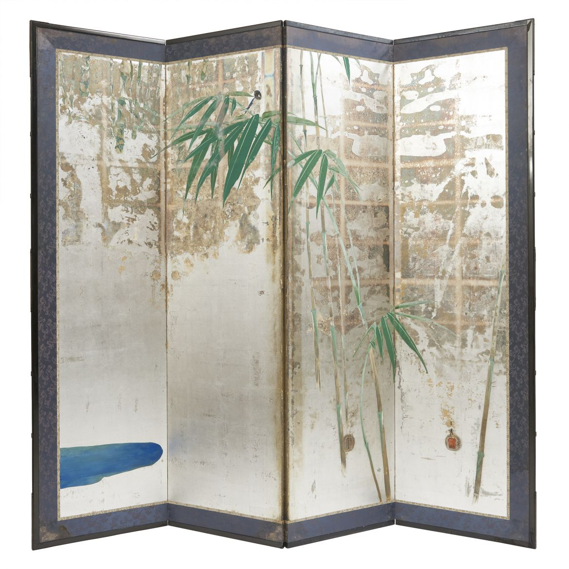 Japanese Paper Silver Screen with Bamboo