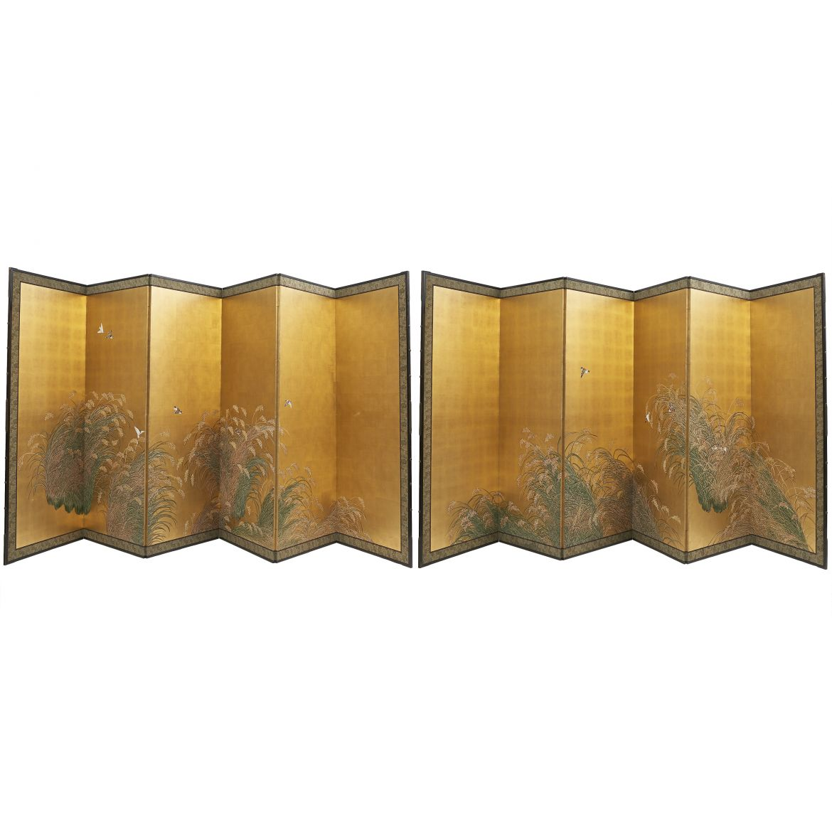 Pair Japanese Screens of Rice Fields