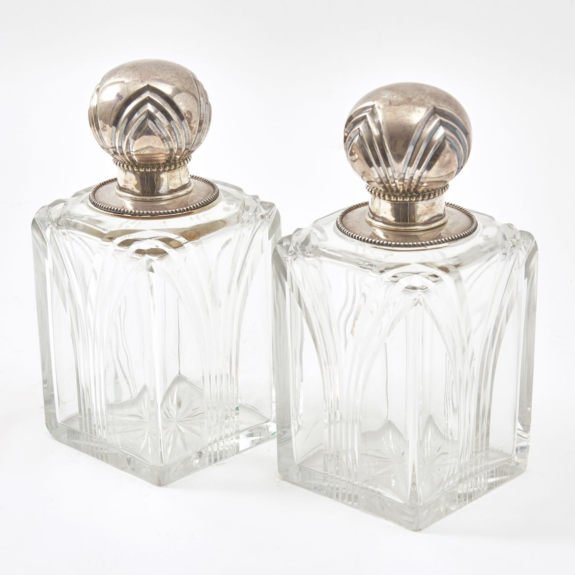 Pair French Art Deco Perfume Bottles