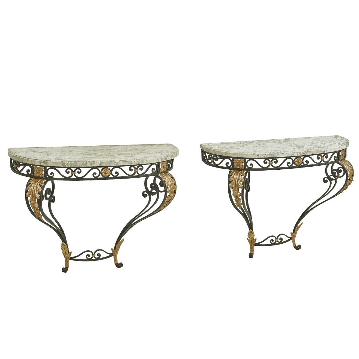 Pair French Wrought Iron Consoles
