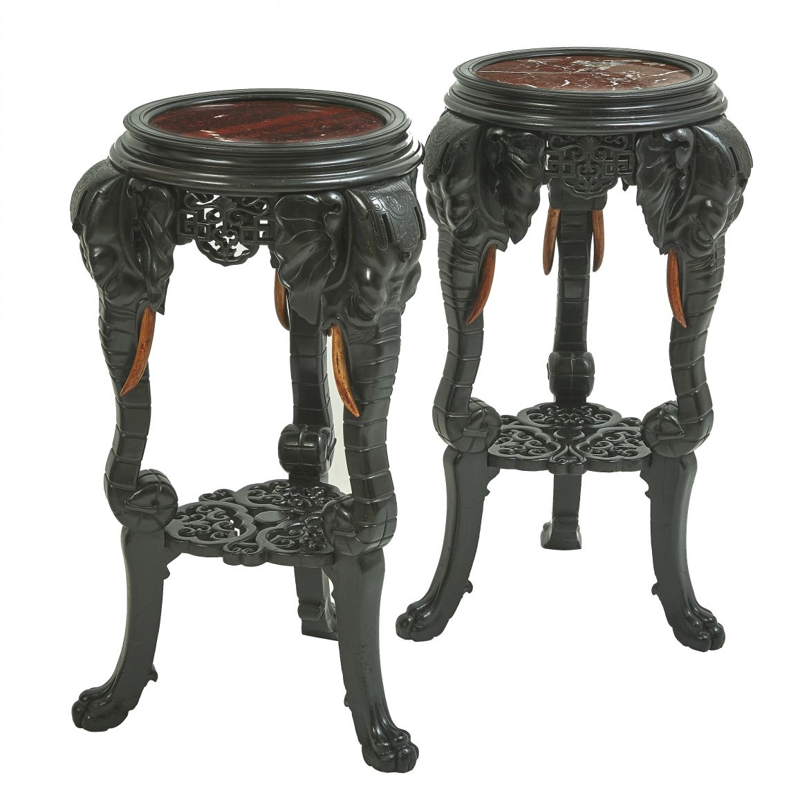 French Chinoiserie Carved Elephant Pedestals