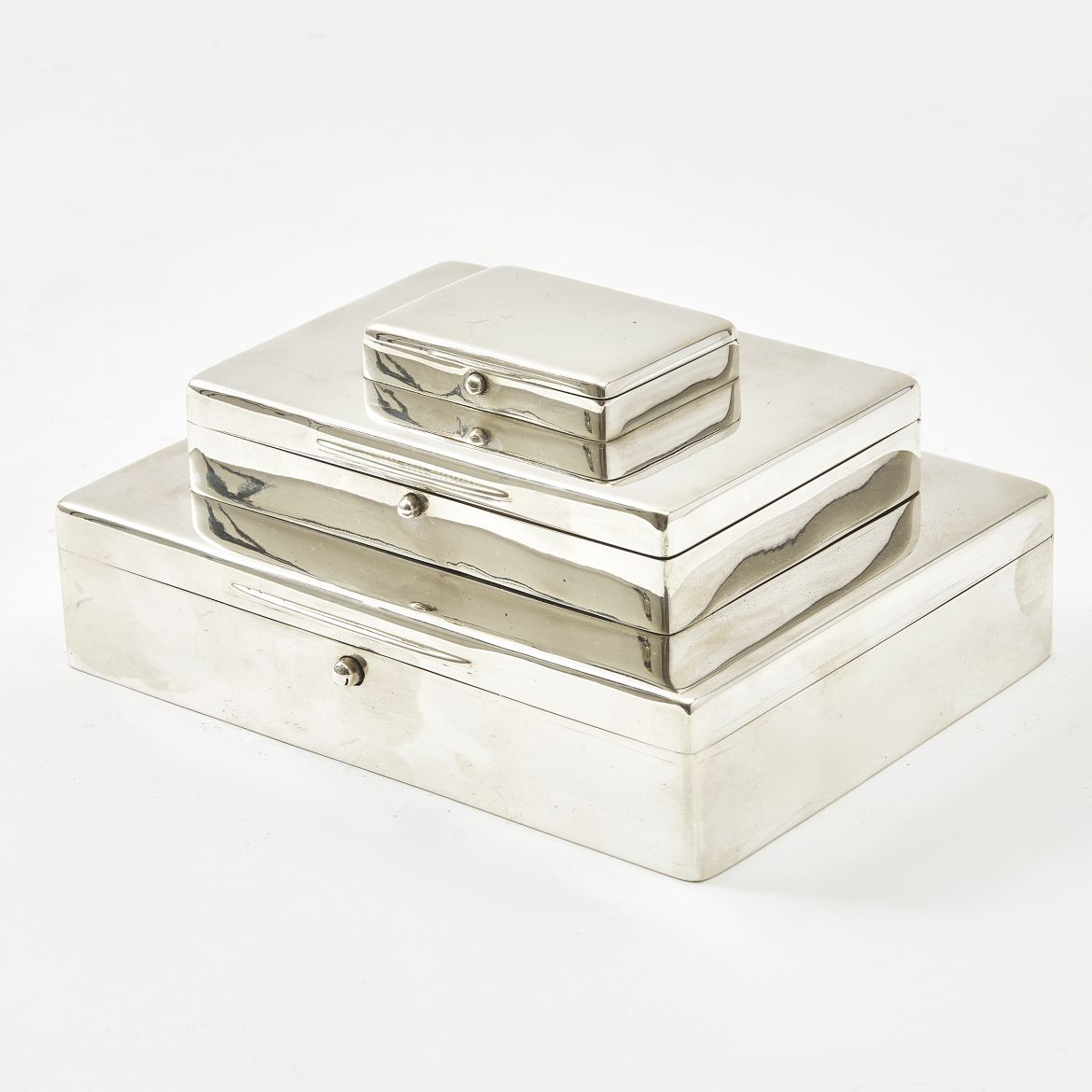 Asprey Silver Tiered Cigarette Box