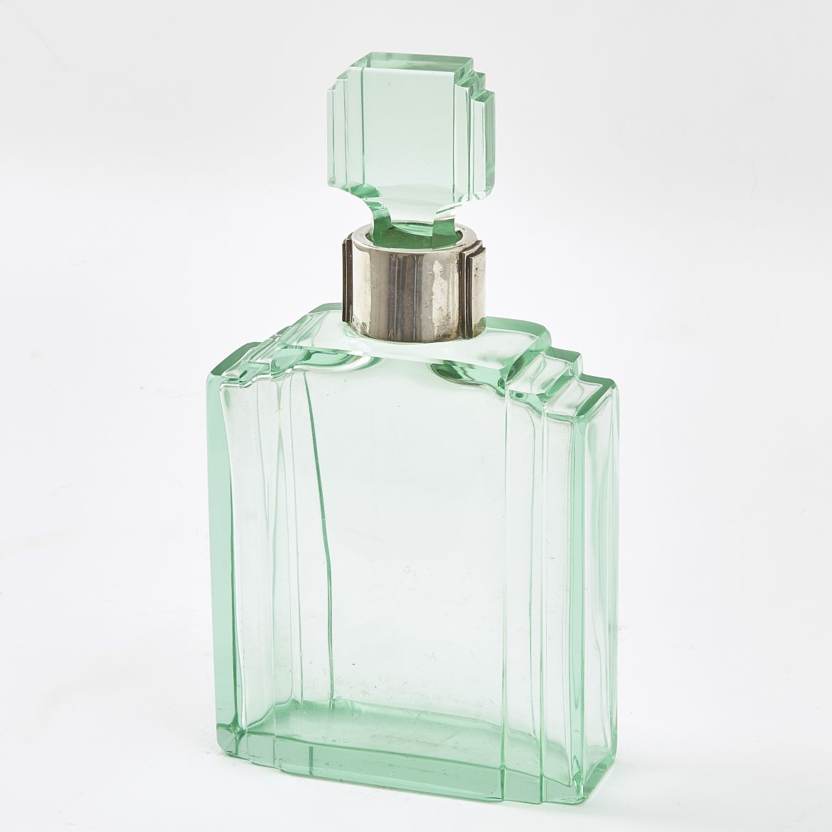 Large Green Glass Art Deco Decanter