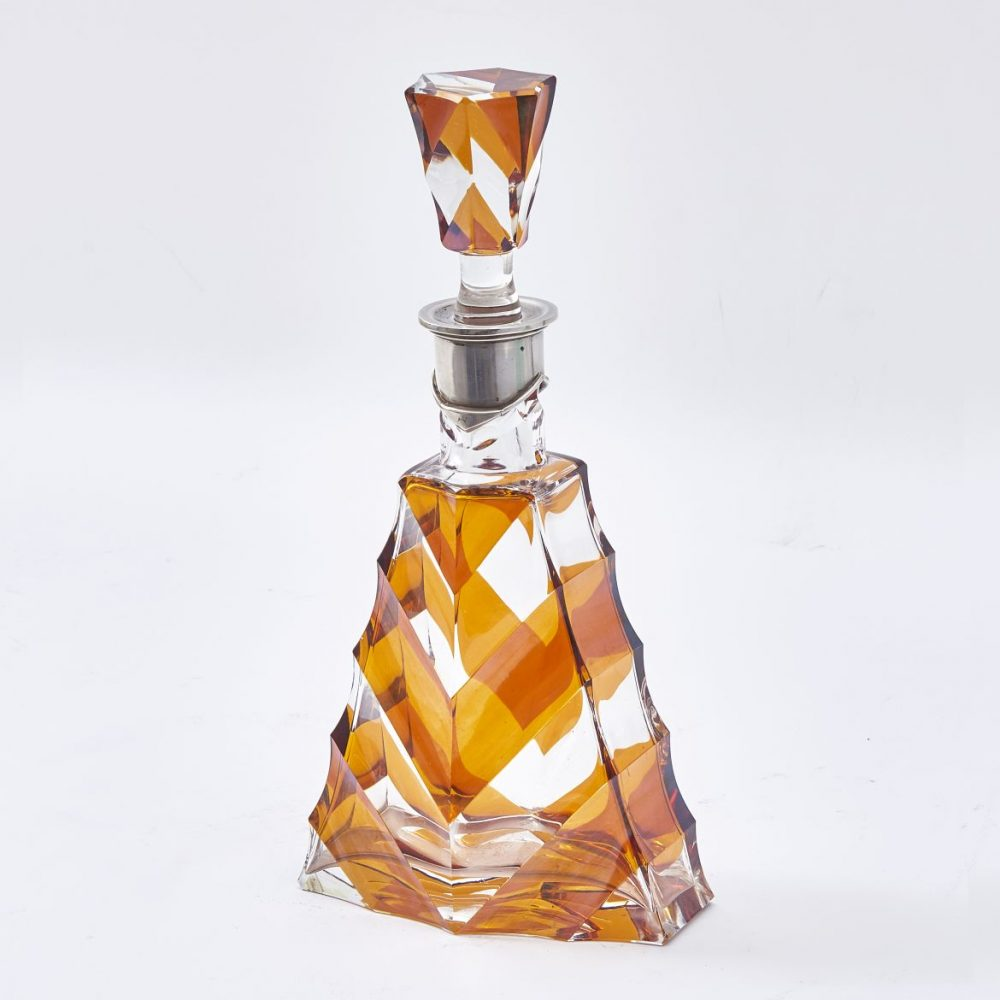 Art Deco Amber and Clear Glass Decanter