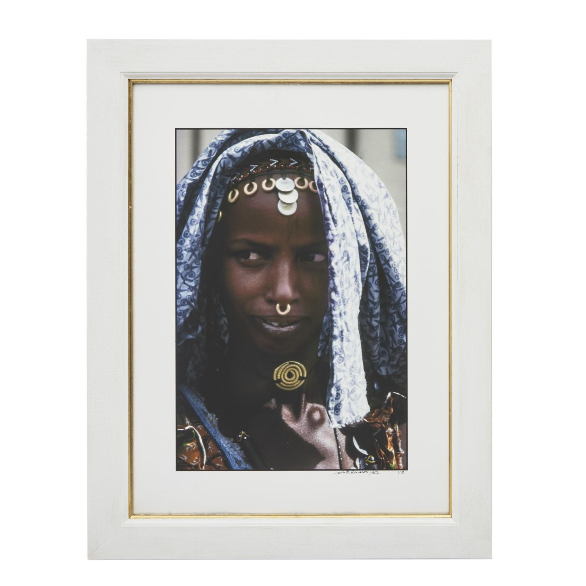 Young Fulani Peul Girl with Patterned Cotton Shawl