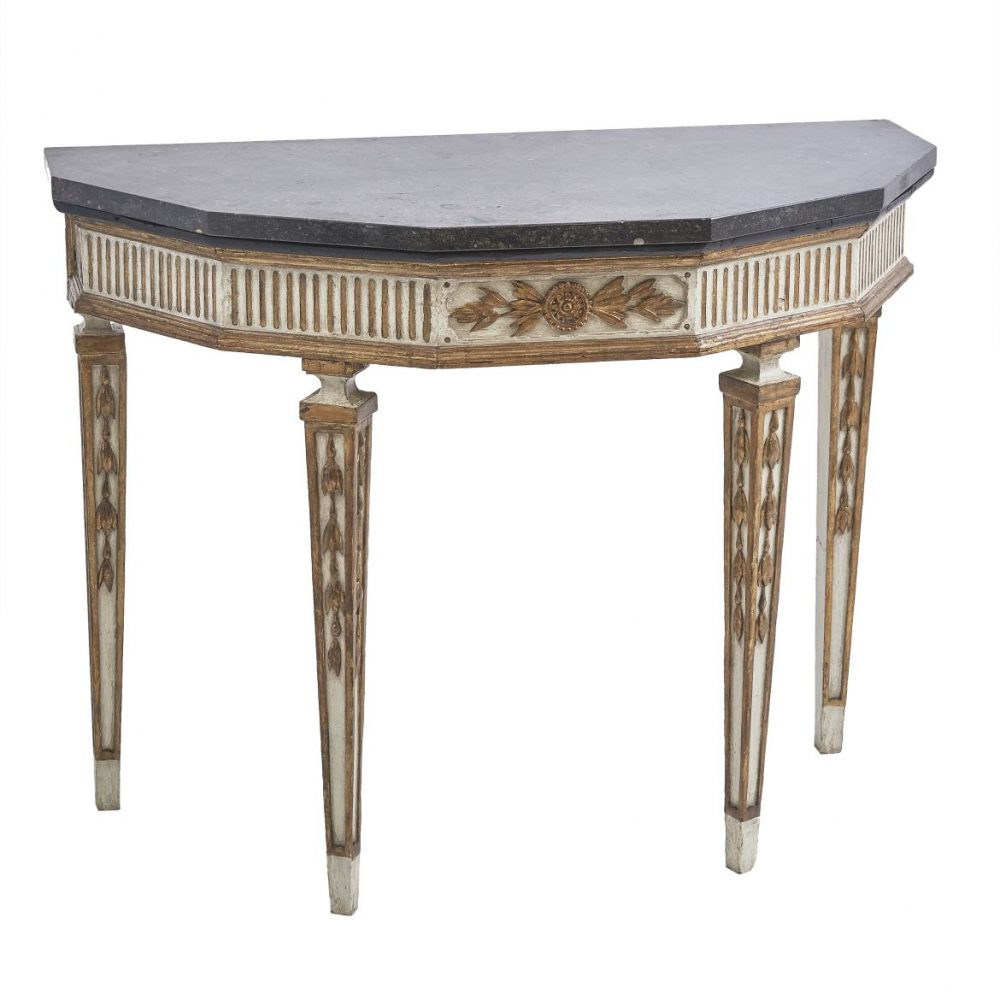 Italian Neoclassical Painted And Gilt Console Table