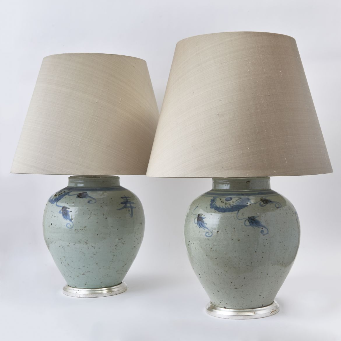 Pair Chinese Blue and White Porcelain Lamps