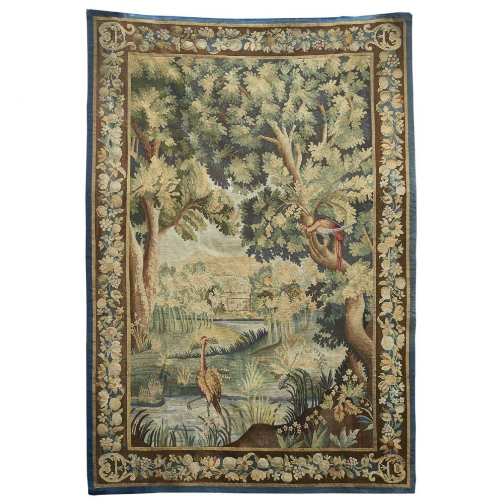French Aubusson Wool Tapestry Depicting A Crane In A Pond