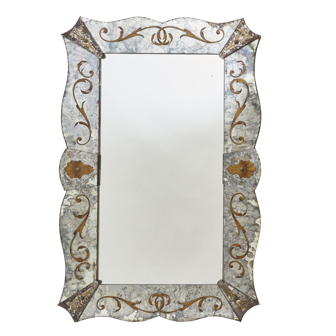 Venetian Style Mirror With Eglomisé Decoration