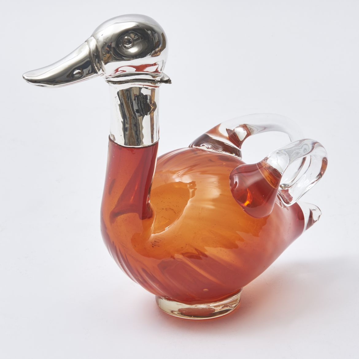Austrian Orange Glass Duck Decanter