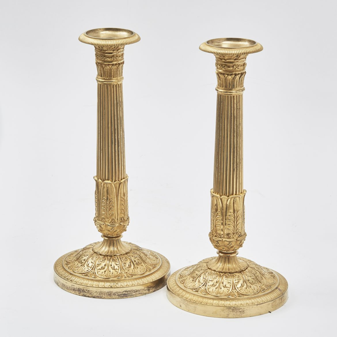 French Neoclassical Gilt Bronze Candlesticks
