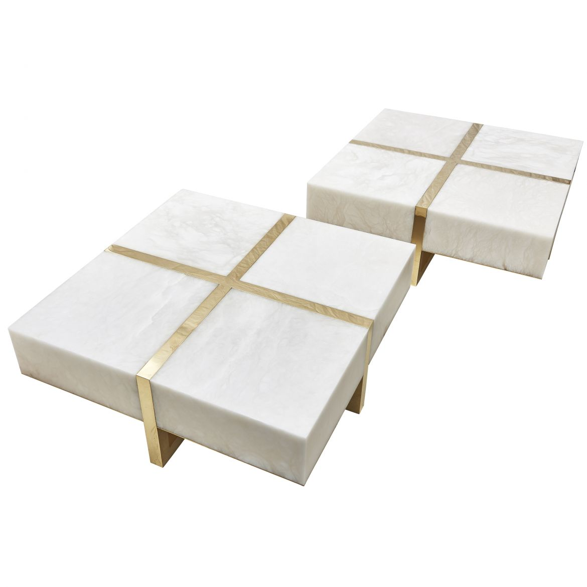 Arriau Cadeau Alabaster Two Part Coffee Table