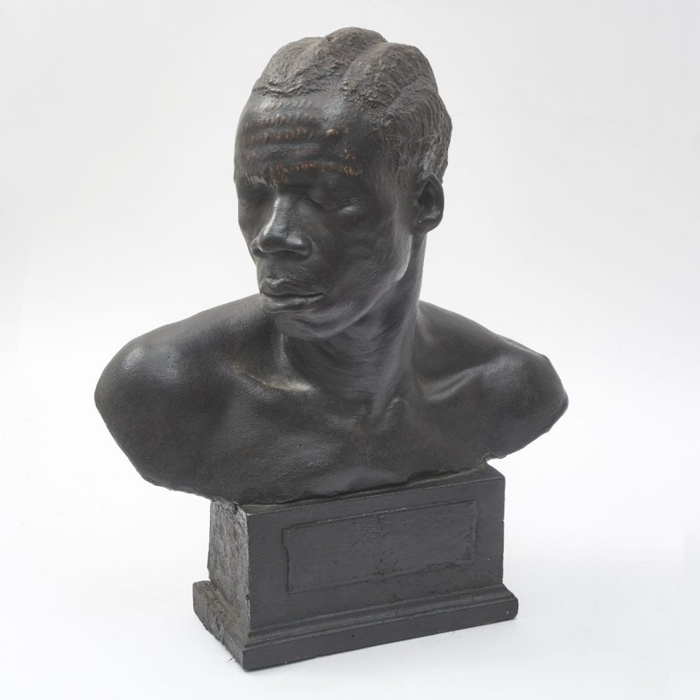 Patinated Plaster Bust Of An African Tribesman