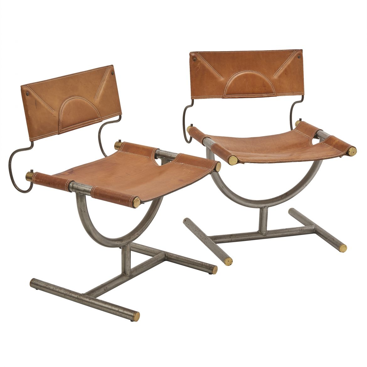 Pair Leather Afra and Tobia Scarpa Chairs