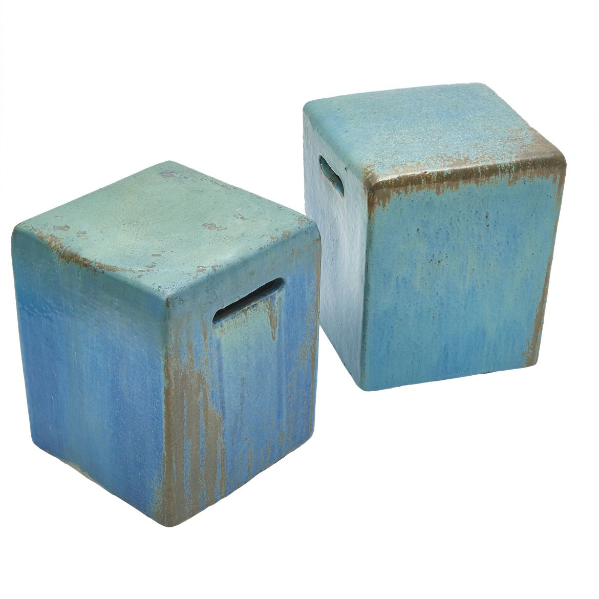 Pair Square Glazed Garden Stools
