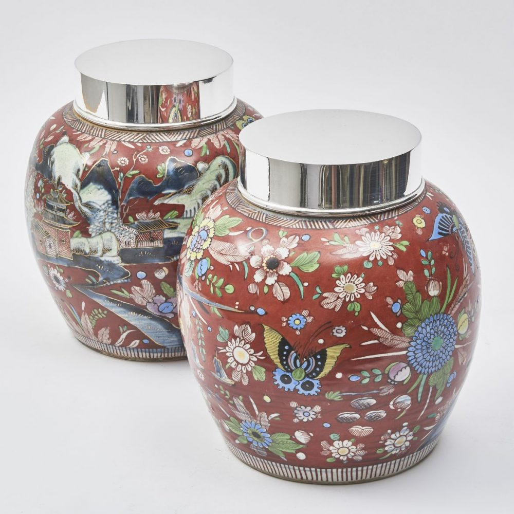 Pair Chinese Red Clobbered Ginger Jars