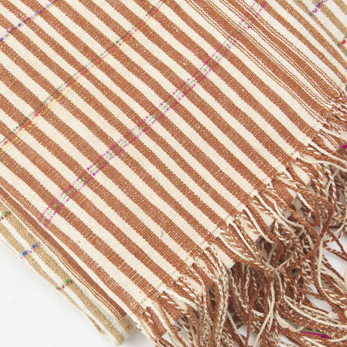 vintage Striped Fabrics With Multicoloured Thread