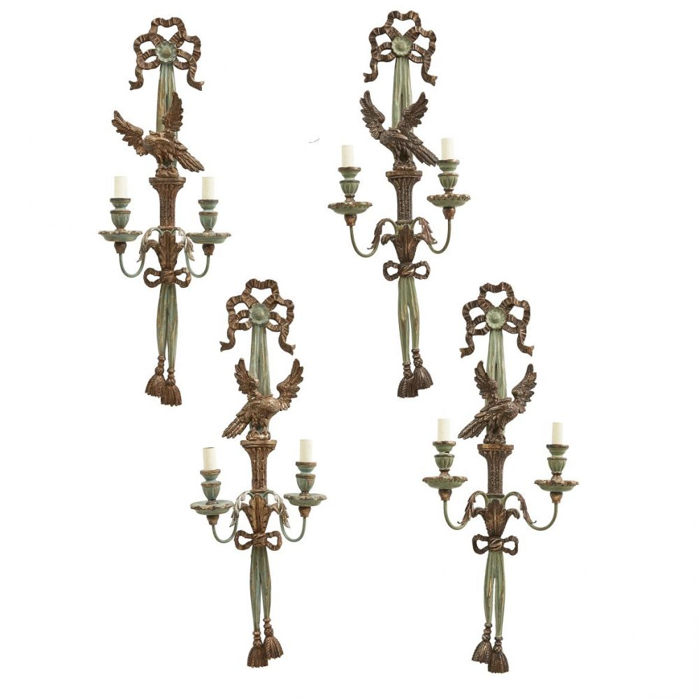 Set Four Blue And Silver Leaf Carved Wood And Tole Sconces