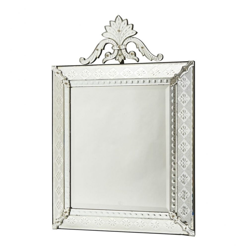 French Venetian Style Crested Mirror With Diamond Cut Panels