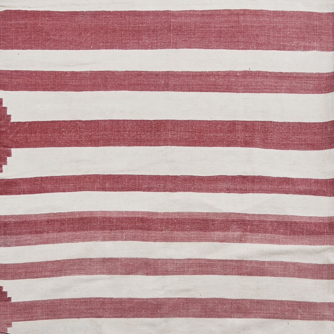 Red And White Uneven Striped Dhurrie With Edge Detail
